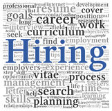 Hiring concept in word tag cloud Royalty Free Stock Photo
