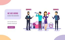 Hiring, conduct interviews, connect of hr human resources department. We are hiring, conduct interviews, talk with candidates for job, connect of hr human stock illustration