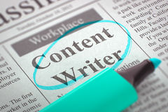 We are Hiring Content Writer. 3D. Stock Photo