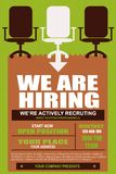 We are Hiring fair Poster or hiring form layout. Design. Hiring full time Vacancy Advertisement Concept on green background with megaphone, hands and yellow royalty free illustration