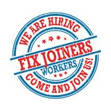We are hiring fix joiners. Come and join us!- stamp / label Royalty Free Stock Image