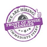 We are hiring front of the house manager - purple printable lable Vector Illustration