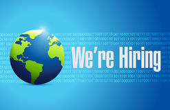 We are hiring globe sign illustration design Stock Image