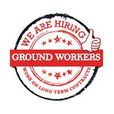 We are hiring ground workers - red and black stamp / label for print. Work with us! We are hiring ground workers! Grunge printable sticker / label designed for vector illustration