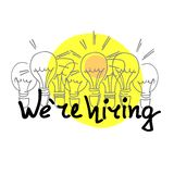 We are hiring. Hand drawn recruitment banner. Concept of both search for the best employees and pursuit of success royalty free illustration