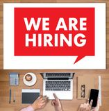 WE ARE HIRING Human Resources Interview professionals working fi Stock Photo