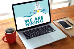 WE ARE HIRING Human Resources Interview professionals working fine Recruitment Job stock photo