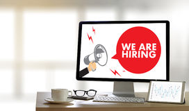 WE ARE HIRING Human Resources Interview professionals working fi Stock Images
