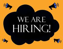 We are hiring illustration with cloud and megaphones stock photography