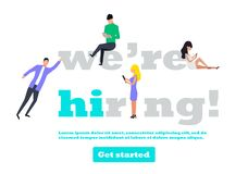 We are hiring illustration concept with small people stock illustration
