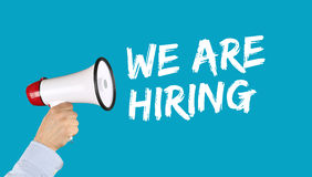 We are hiring jobs, job working recruitment employment business. Concept employees career hand with megaphone stock photos