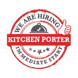 We are hiring kitchen porter. Immediate start -  printable job offer stamp Royalty Free Stock Photography