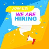 We are hiring a label. Blue and yellow style on a red, orange background. Mega idea and suggestion, geometric shapes. Vector vector illustration