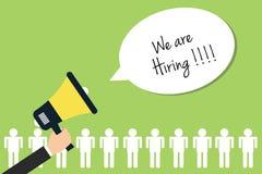 We are hiring. Loudspeaker worker broadcasting flat Royalty Free Stock Images