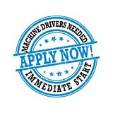 We are hiring Machine drivers - printable labled. We are hiring Machine drivers, immediate start - grunge label , sticker. Print colors used Royalty Free Stock Image