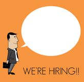 We are hiring man with cloud speech Royalty Free Stock Images