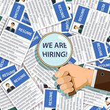 We are hiring. Man holds a magnifying glass with the inscription we are hiring. Job search and unemployment. Stock  illustration Stock Images