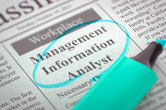 We are Hiring Management Information Analyst. 3D Illustration. A Newspaper Column in the Classifieds with the Job Vacancy of Management Information Analyst Stock Photo