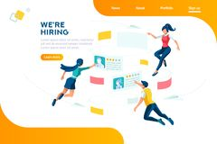 Hiring Management Selecrion Web Recruiting Presentation. Management selection infographic. Employment, social presentation for recruiting, web recruitment stock illustration