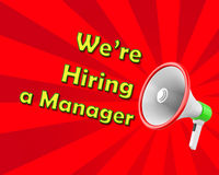 We are hiring a manager. Megaphone we are hiring a manager 3d rendering Stock Photography