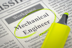 We are Hiring Mechanical Engineer. 3D. Royalty Free Stock Images