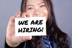 WE ARE HIRING! message on the card Royalty Free Stock Images