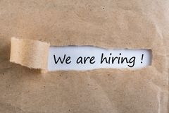 We are hiring - message in uncover letter. Job offer Royalty Free Stock Photo