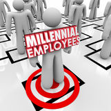 Hiring Millennial Employees Organization Chart Staff Young Workf. Millennial Employees words on a worker or staff member on an organizational chart to illustrate Stock Photos
