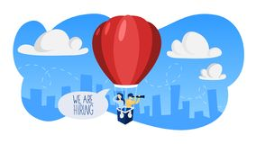 We are hiring. People looking for a job candidate. stock illustration