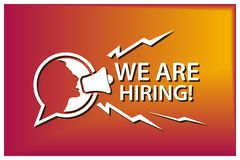 We are hiring with people and megaphone. Flat vector illustration on colorful background. royalty free illustration