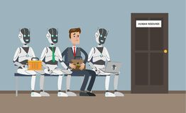 Hiring people or robots. Human technology competition Stock Images