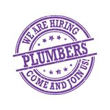 We are hiring plumbers. Come and join us! - purple stamp / label Vector Illustration