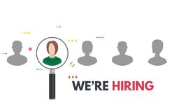 We are hiring banner. We are hiring poster with magnifying glass. Business recruiting concept. Human faces and employee searching from candidates. Employer royalty free illustration