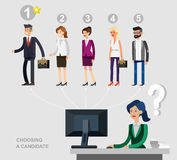 Hiring process concept with candidate selection Royalty Free Stock Image