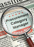 We are Hiring Procurement Category Manager. 3D. Magnifying Lens Over Newspaper with Vacancy of Procurement Category Manager. Procurement Category Manager Royalty Free Stock Photography