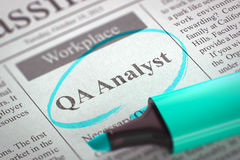 We are Hiring QA Analyst. 3D. Newspaper with Small Ads of Job Search QA Analyst. Blurred Image with Selective focus. Hiring Concept. 3D Rendering stock photo