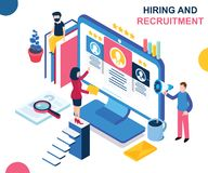 Hiring and Recruiting new People for the Company Isometric Artwork Concept vector illustration