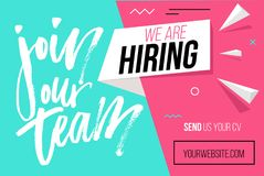Hiring recruitment design poster. We are hiring brush lettering. With geometric shapes. Vector illustration. Open vacancy design template vector illustration
