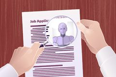 Hiring Robot For A Job Position. Vector illustration on the subject of `Technological Displacement Of Jobs / Robotization Royalty Free Stock Photos