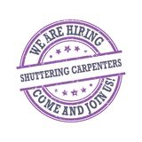 We are hiring shuttering carpenters. Come and join us!- stamp / label Royalty Free Stock Image
