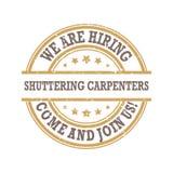 We are hiring shuttering carpenters. Immediate start! - light brown stamp / label Stock Illustration