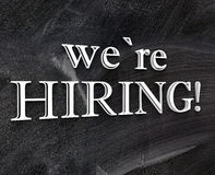 We are Hiring sign blackboard Royalty Free Stock Image