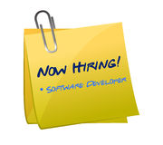 Hiring software developer post illustration. Design over white Stock Photography