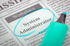 We are Hiring System Administrator. 3D. A Newspaper Column in the Classifieds with the Vacancy of System Administrator, Circled with a Azure Highlighter Royalty Free Stock Images