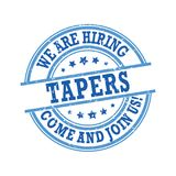 We are hiring tapers - come and join us! Blue printable label Stock Photography