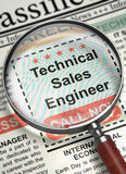 We are Hiring Technical Sales Engineer. 3D. Royalty Free Stock Photo