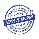 We are hiring window cleaners. Immediate start!- Blue stamp / label for print Royalty Free Stock Image
