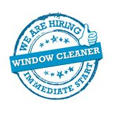 We are hiring window cleaners. Immediate start!- stamp / label Stock Photography