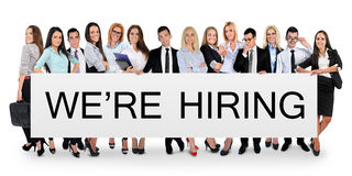 We are hiring word. Writing on white banner Stock Images