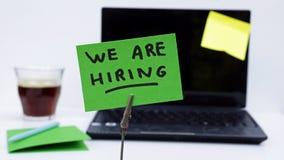 We are hiring written Stock Photo